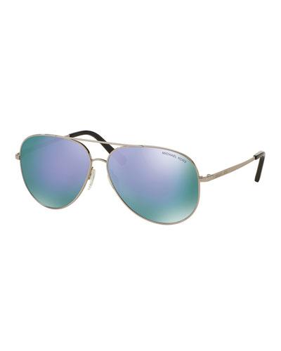Mirrored Aviator Sunglasses, Silver/Purple