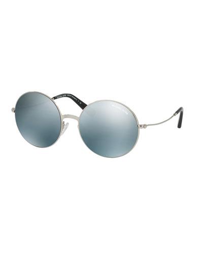 Round Flash Metal Sunglasses, Silver