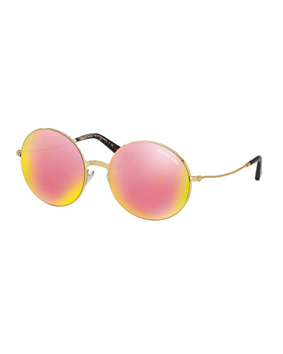 Mirrored Round Metal Sunglasses, Gold