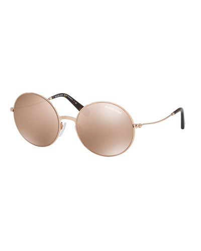Mirrored Round Metal Sunglasses, Rose Gold