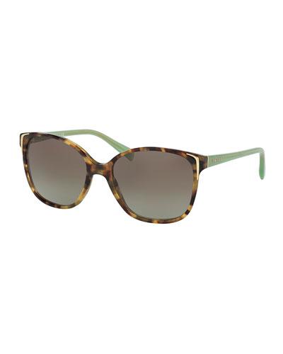Square Gradient Arrow-Edge Sunglasses, Brown/Green
