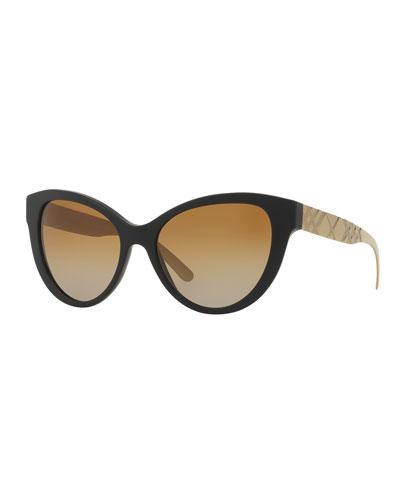 Check-Embossed Universal-Fit Cat-Eye Sunglasses, Black