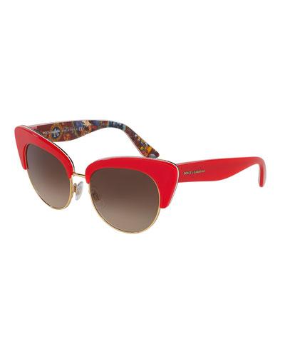 DNA Semi-Rimless Cat-Eye Sunglasses, Red