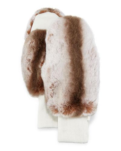 Rabbit Fur/Knit Mittens, Sand