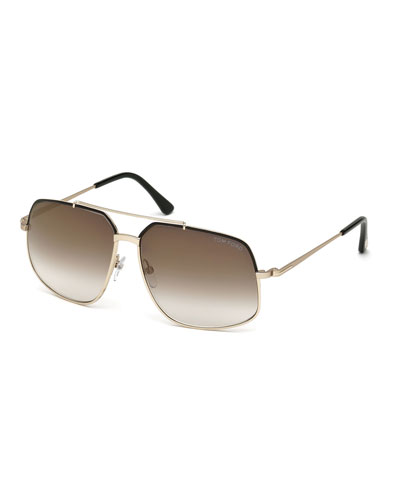 Ronnie Gradient Geometric Aviator Sunglasses, Rose Gold/Black