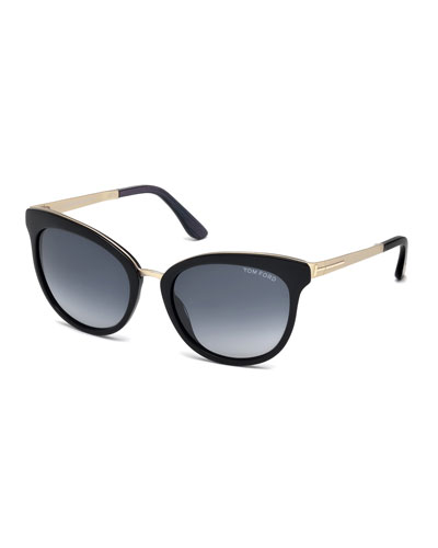 Emma Gradient Cat-Eye Sunglasses, Black