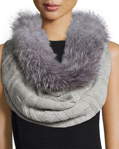 Fur-Trim Cashmere Cable-Knit Snood, Gray