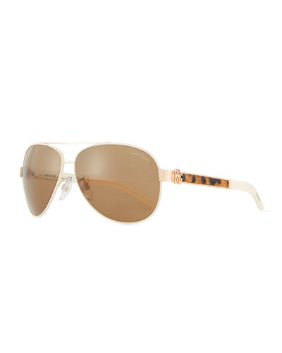 Leopard-Inset Aviator Sunglasses, Rose Gold