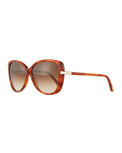 Square Acetate Sunglasses, Rose Gold