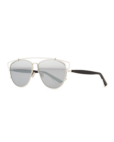 Technologic Cutout Aviator Sunglasses, Silvertone/Black