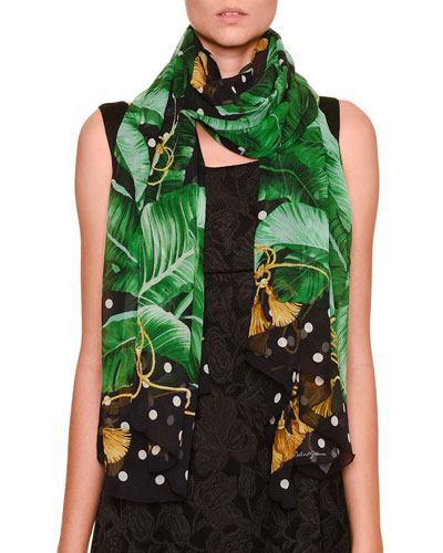 Polka-Dot & Banana Leaf-Print Scarf, White/Green/Black