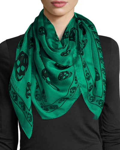 Silk Mixed Skull Square Scarf, Green/Black