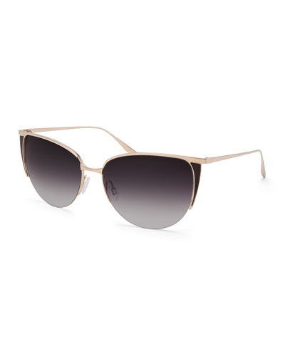 Devlin Titanium Cat-Eye Sunglasses, Gold/Black Snake