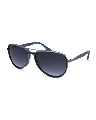 Gazarri Polarized Aviator Sunglasses, Cobalt/Pewter