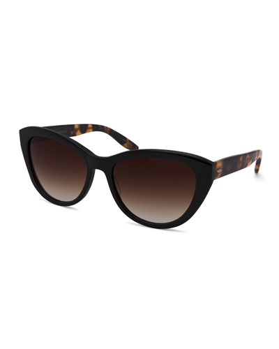 Graziana Cat-Eye Acetate Sunglasses, Black/Tortoise