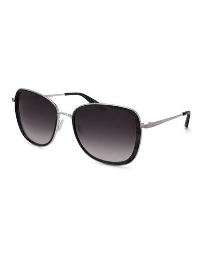 Tiegs Gradient Square Sunglasses, Black Marble/Silver