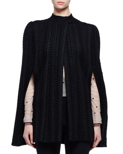 Stand-Collar Textured Cape Jacket, Black