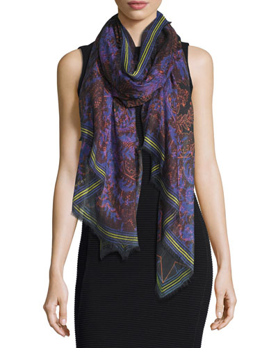 Lace-Print Voile Scarf, Purple