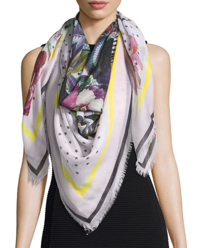 Square Floral Bouquet Star-Print Cashmere Scarf, Cream