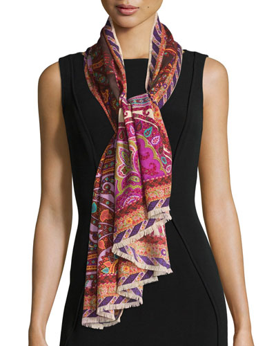 Paisley Wool-Blend Scarf, Coral/Plum