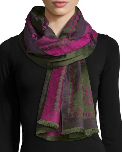Floral & Paisley Wool-Blend Scarf, Pink/Green