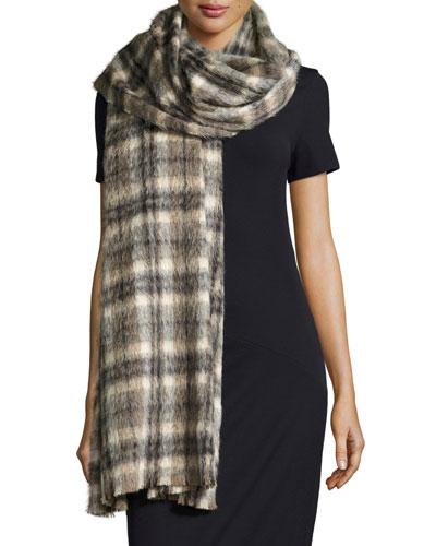 Long Plaid Alpaca & Wool Scarf, Vanilla/Brown