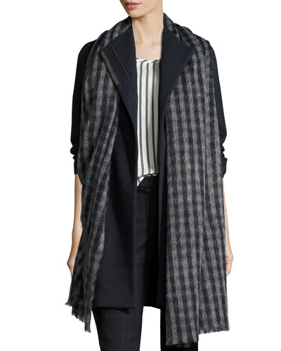 Long Check Alpaca & Wool Scarf, Navy
