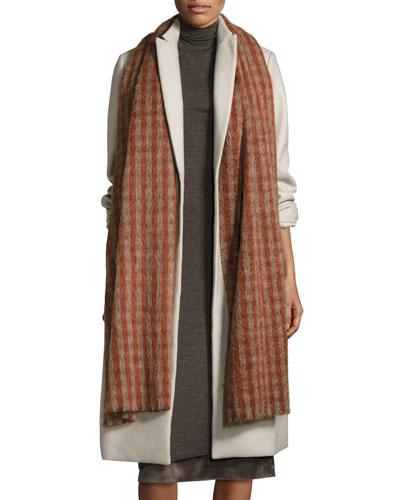 Long Check Alpaca & Wool Scarf, Rosewood