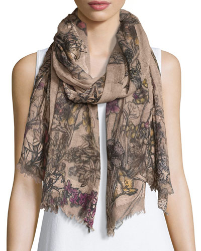 Bacche Floral Wool-Blend Scarf, Blush