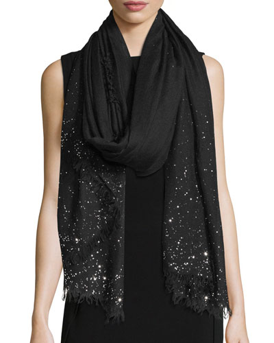 Domenica Rhinestone-Trim Wool-Blend Scarf, Black