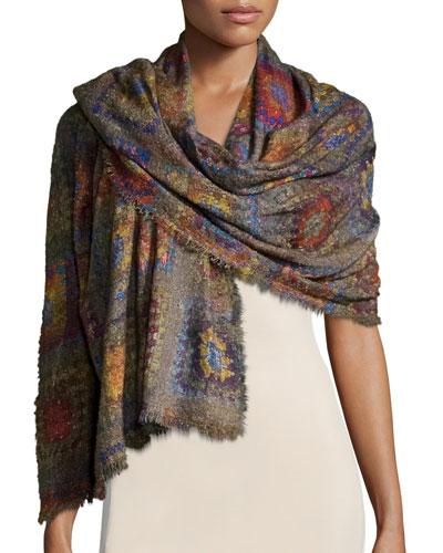 Presine Tile-Print Wool-Blend Scarf, Multicolor