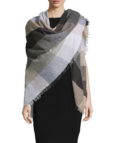Siriana Check Wool-Blend Scarf, Lavender