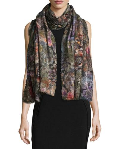 Leandra Floral Wool-Blend Scarf, Multicolor