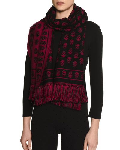 Skull-Print Cold Weather Scarf, Magenta/Black