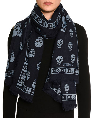 Big Skull Wool-Blend Scarf, Navy/Blue