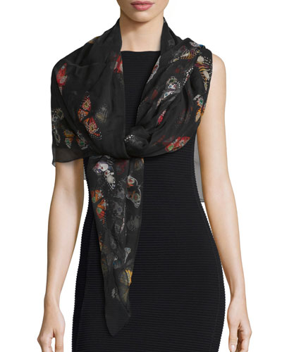 Bejeweled Butterfly Voile Scarf, Black/Red