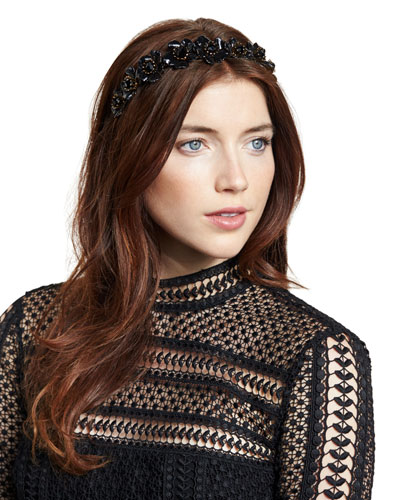 Faye Floral Enamel-Coated Hair Circlet, Jet/Gold