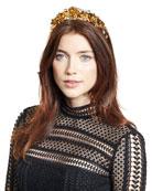 Magdalena Rose Crown Circlet, Crystal/Gold
