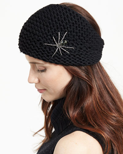 Embellished Wool Spider Headband, Black