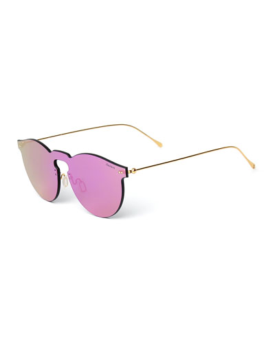 Rimless Mirrored Iridescent Sunglasses, Pink