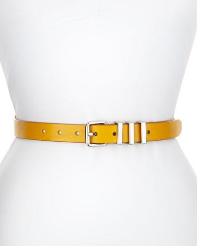 Thin Leather Belt, Gold