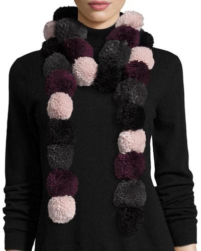 Long Pompom Scarf, Pink/Purple/Gray/Black
