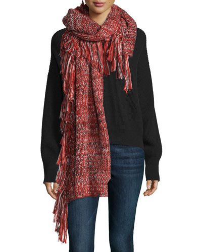 Chunky Melange Blanket Scarf, Ruby/Black/Cream