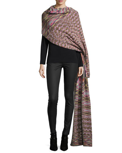 Printed Runway Blanket Scarf, Multicolor