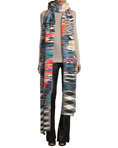 Long Multipattern Runway Scarf, Black/White/Multicolor