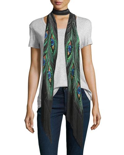 Peacock Eyes Classic Skinny Silk Scarf, Black