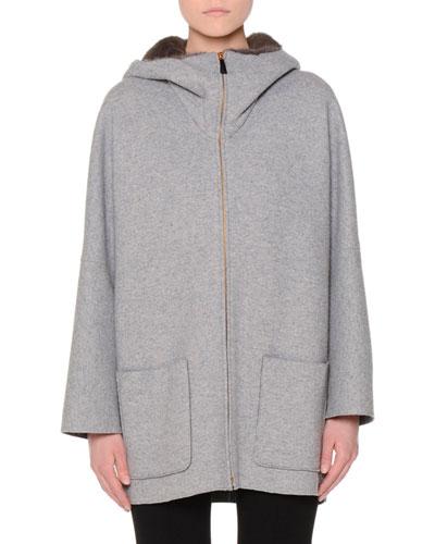 Mink-Lined Hooded Cashmere Coat