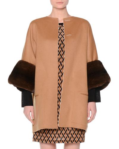 Reversible Wool Coat w/Mink Fur Cuffs, Tobacco/Ivory