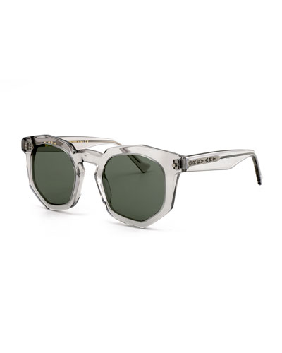 Composite Geometric Sunglasses, Light Gray