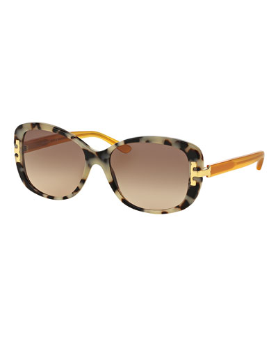 Universal-Fit Squared Cat-Eye Sunglasses, Tortoise/Marigold
